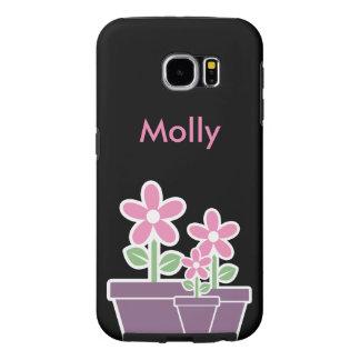 かわいらしい花のモノグラム SAMSUNG GALAXY S6 ケース