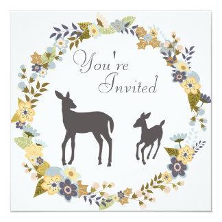 かわいらしい花のリースのシカのベビーシャワーの招待状 カード