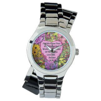 かわいらしい花のロマンの8:28の聖なる書物、経典の詩 腕時計