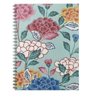 かわいらしい花のヴィンテージのアジア芸術の螺線形ノート ノートブック