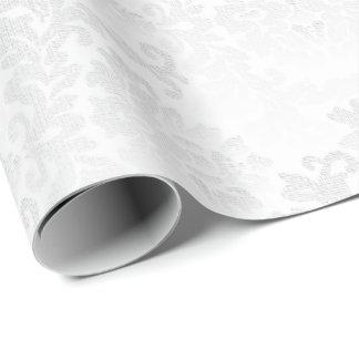 かわいらしい花の白いダマスク織の結婚式のデザイン 包装紙