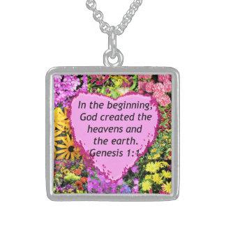 かわいらしい花の起源の1:1の写真のデザイン スターリングシルバーネックレス