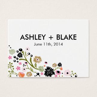 かわいらしい花束の花の結婚式の引き出物カード 名刺