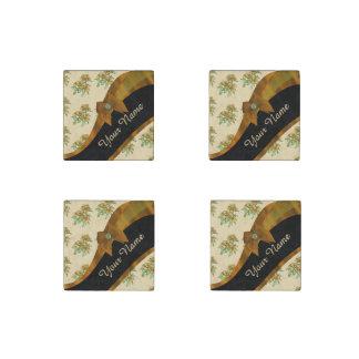 かわいらしい茶色およびベージュヴィンテージの花柄パターン ストーンマグネット