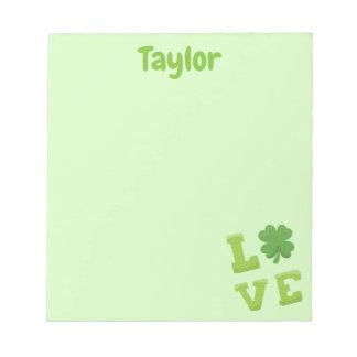 かわいらしい薄緑の愛ゴシック体 ノートパッド