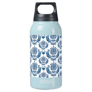 かわいらしい藍色のダマスク織パターン 断熱ウォーターボトル