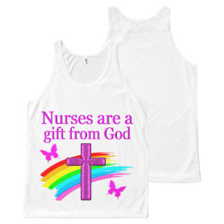 かわいらしい虹および十字の看護のデザイン オールオーバープリントタンクトップ