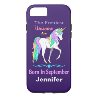 かわいらしい虹のユニコーンは9月に生まれます iPhone 8/7ケース