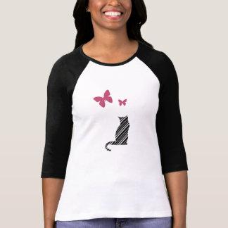 かわいらしい蝶および猫のTシャツ Tシャツ