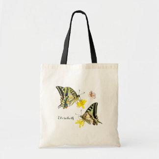 かわいらしい蝶および花 トートバッグ