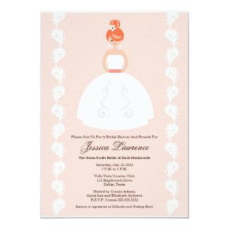 かわいらしい赤毛のブライダルシャワーのピンクの招待状 カード