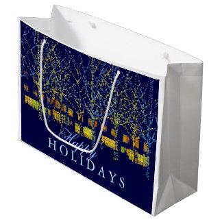 かわいらしい都市は幸せな休日をつけます ラージペーパーバッグ
