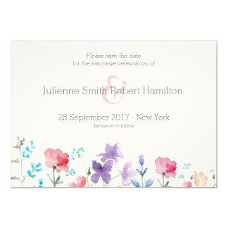 かわいらしい野生の花|の素朴な保存日付 12.7 X 17.8 インビテーションカード
