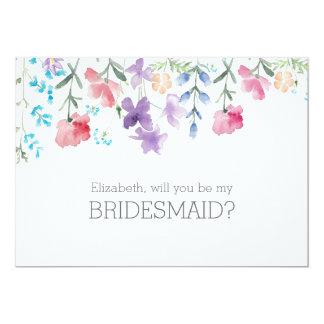 かわいらしい野生の花 の素朴な新婦付添人の招待状 カード