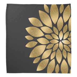 かわいらしい金ゴールドの模造のなグリッターの抽象芸術の花 バンダナ