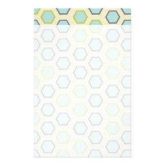 かわいらしい青およびライムグリーンの六角形のタイルパターン 便箋