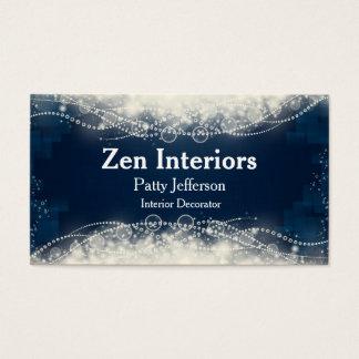 かわいらしい青および白は名刺を真珠で飾ります 名刺