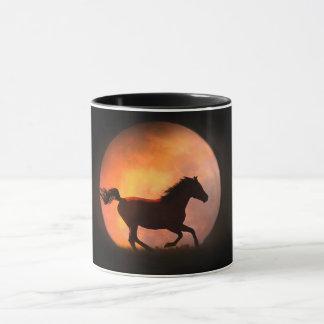 かわいらしい馬および月のコーヒー・マグ マグカップ