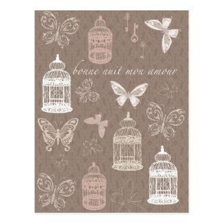 かわいらしい鳥かご及び蝶パターン ポストカード