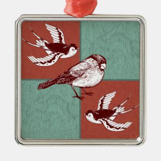 かわいらしい鳥のすずめの赤い青色のブロックデザイン メタルオーナメント