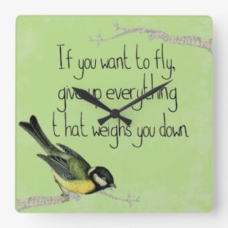 かわいらしい鳥のやる気を起こさせるで感動的な柱時計 スクエア壁時計
