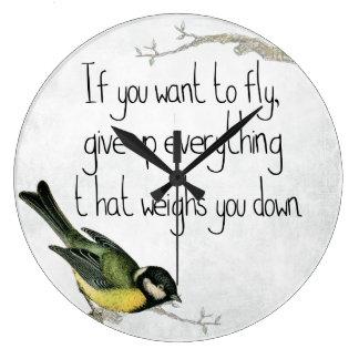 かわいらしい鳥のやる気を起こさせるで感動的な柱時計 ラージ壁時計
