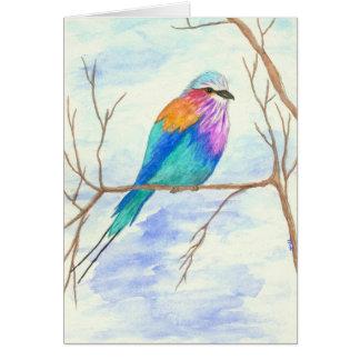 かわいらしい鳥、薄紫のBreastedのローラー、水彩画の芸術 ノートカード