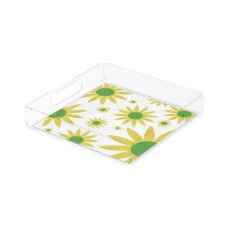 かわいらしい黄色によってはデイジーパターン花柄の皿が開花します アクリルトレー