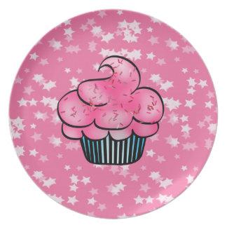 かわいらしい|ピンク|カップケーキ|&|白い|星|版
