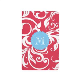 かわいらしいAppleの赤く青い花の渦巻のモノグラム ポケットジャーナル