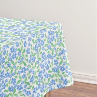 かわいらしいDitsyの青緑の白いタマキビの花 テーブルクロス