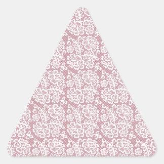 かわいらしいDuskyピンクの白いレースパターン 三角形シール
