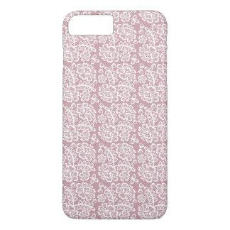 かわいらしいDuskyピンクの白いレースパターン iPhone 8 Plus/7 Plusケース