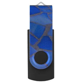 かわいらしいLapisの青のステンドグラスのモザイク組織 USBフラッシュドライブ