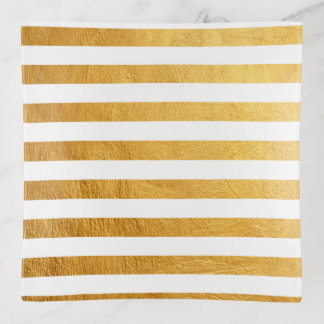 かわいらしくエレガントなホワイトゴールドホイルのペンキは縞で飾ります トリンケットトレー