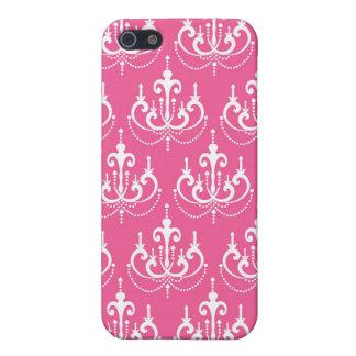 かわいらしくシックなピンクの白いシャンデリアのダマスク織 iPhone 5 COVER