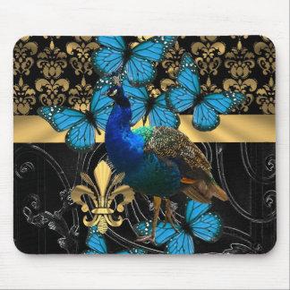かわいらしくフェミニンな孔雀のデザイン マウスパッド