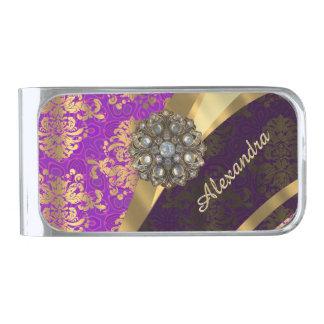 かわいらしく名前入りでガーリーな紫色のダマスク織の木靴 シルバー マネークリップ