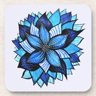 かわいらしく抽象的で青い曼荼羅は花のスケッチを好みます コースター