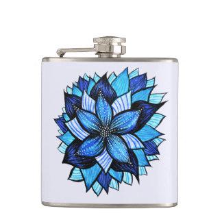 かわいらしく抽象的で青い曼荼羅は花のスケッチを好みます フラスク