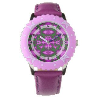 かわいらしく明るいピンクの緑の抽象芸術 腕時計