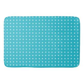 かわいらしく明るい青緑の水玉模様パターン バスマット