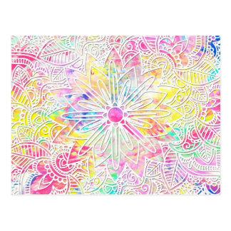 かわいらしく粋な花の手描きのhennaパターン ポストカード
