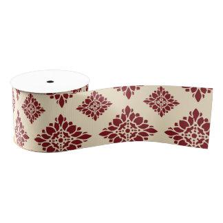 かわいらしく素朴な花の赤いヴィンテージのダマスク織パターン グログランリボン