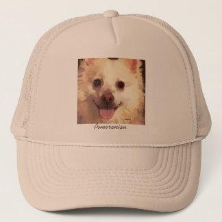 かわいらしく色彩の鮮やかなポメラニア犬の顔の帽子 キャップ