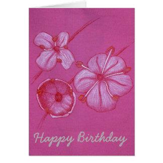 かわいらしく色彩の鮮やかな花のバースデー・カード カード
