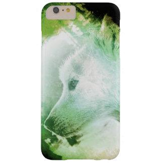 かわいらしく芸術的なオオカミ子犬の顔の緑および白 BARELY THERE iPhone 6 PLUS ケース