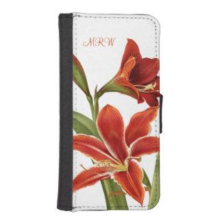 かわいらしく赤いアマリリスの花の任意モノグラム iPhoneSE/5/5sウォレットケース