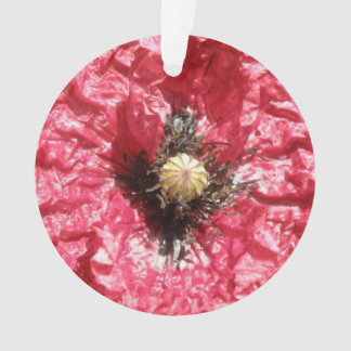かわいらしく赤いケシの花のマクロアクリルのオーナメント オーナメント