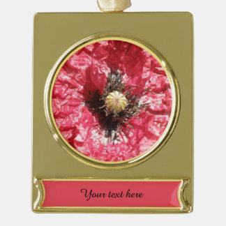 かわいらしく赤いケシの花のマクロカスタムなオーナメント ゴールドプレートバナーオーナメント
